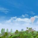 Вид на парк развлечений Острова фантазий
